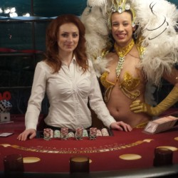 Model and Showgirl at Blackjack table