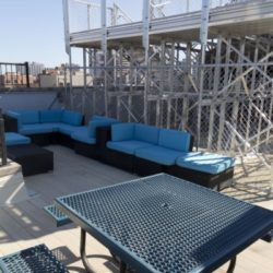 Murphys Bleachers couch seating on the rooftop