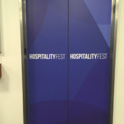 Elevator Wraps Branding by SourceOne Events
