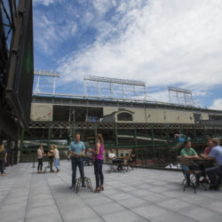American Airlines Conference Center Terrace Reception Space looking at Wrigley Field  over looking Gallagher Way Park